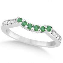 Floral Diamond and Emerald Wedding Ring Platinum (0.28ct)