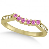 Floral Diamond & Pink Sapphire Wedding Ring 14k Yellow Gold (0.30ct)