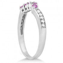 Floral Diamond & Pink Sapphire Wedding Ring 18k White Gold (0.30ct)