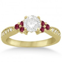 Floral Diamond and Ruby Engagement Ring 18k Yellow Gold (0.30ct)