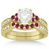 Floral Diamond and Ruby Engagement Ring & Band 14k Yellow Gold (0.60ct)