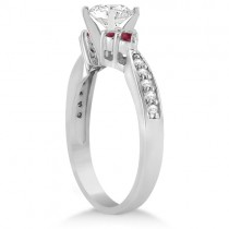 Floral Diamond and Ruby Engagement Ring & Band 18k White Gold (0.60ct)