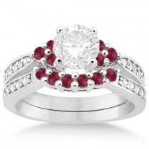 Floral Diamond and Ruby Engagement Ring & Band Palladium (0.60ct)