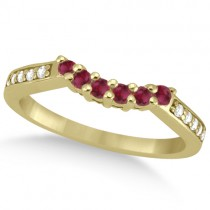 Floral Diamond and Ruby Wedding Ring 14k Yellow Gold (0.30ct)