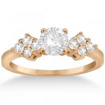Modern Diamond Cluster Engagement Ring 18k Rose Gold (0.24ct)