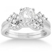 Diamond Cluster Engagment Ring & Wedding Band 14k White Gold (0.34ct)