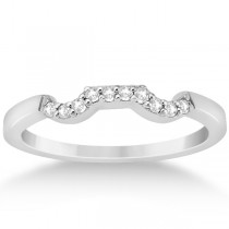 Modern Curved Diamond Wedding Band for Women 14k White Gold (0.10ct)