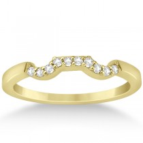 Modern Contour Diamond Wedding Band for Women 14k Yellow Gold (0.10ct)
