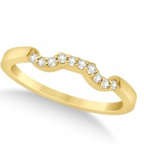 Modern Contour Diamond Wedding Band for Women 18k Yellow Gold (0.10ct)