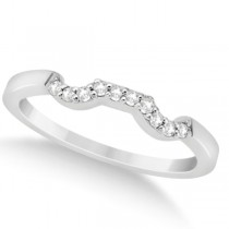 Modern Contoured Diamond Wedding Band for Women Platinum (0.10ct)