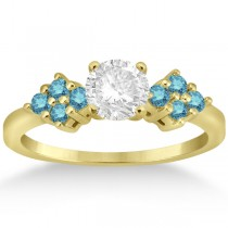 Designer Blue Diamond Floral Engagement Ring 18k Yellow Gold (0.24ct)