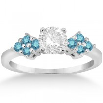 Designer Blue Diamond Floral Engagement Ring in Palladium (0.24ct)