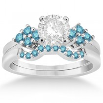 Blue Diamond Engagement Ring & Wedding Band in Palladium (0.34ct)