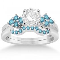Blue Diamond Engagement Ring & Wedding Band in Palladium (0.34ct)