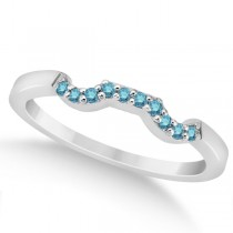 Pave Set Blue Diamond Contour Wedding Band 14k White Gold (0.10ct)