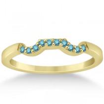 Pave Set Blue Diamond Contour Wedding Band 14k Yellow Gold (0.10ct)