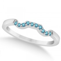Pave Set Blue Diamond Contour Wedding Band 18k White Gold (0.10ct)