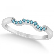 Pave Set Blue Diamond Contour Wedding Band in Palladium (0.10ct)