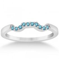 Pave Set Blue Diamond Contour Style Wedding Band in Platinum (0.10ct)
