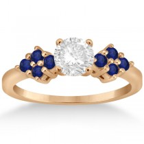 Designer Blue Sapphire Floral Engagement Ring 18k Rose Gold (0.35ct)