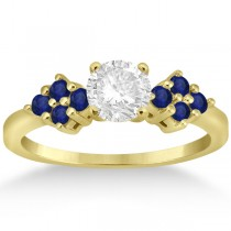 Designer Blue Sapphire Floral Engagement Ring 18k Yellow Gold (0.35ct)
