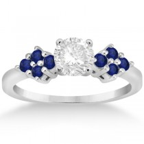 Designer Blue Sapphire Floral Engagement Ring in Palladium (0.35ct)