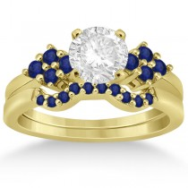 Blue Sapphire Engagement Ring & Wedding Band 18k Yellow Gold (0.50ct)