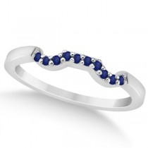 Pave Set Blue Sapphire Contour Wedding Band 14k White Gold (0.15ct)