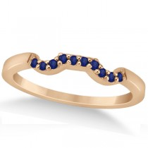 Pave Set Blue Sapphire Contour Wedding Band 18k Rose Gold (0.15ct)