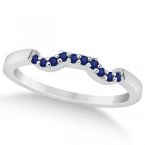 Pave Set Blue Sapphire Contour Wedding Band in Palladium (0.15ct)