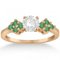 Designer Green Emerald Floral Engagement Ring 18k Rose Gold (0.28ct)