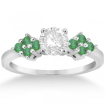 Designer Green Emerald Floral Engagement Ring 18k White Gold (0.28ct)