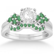 Green Emerald Engagement Ring & Wedding Band 18k White Gold (0.40ct)