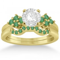 Green Emerald Engagement Ring & Wedding Band 18k Yellow Gold (0.40ct)