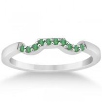 Pave Set Green Emerald Contour Wedding Band 14k White Gold (0.12ct)