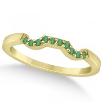 Pave Set Green Emerald Contour Wedding Band 14k Yellow Gold (0.12ct)