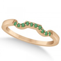 Pave Set Green Emerald Contour Wedding Band 18k Rose Gold (0.12ct)