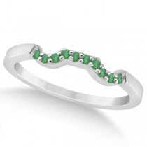 Pave Set Green Emerald Contour Wedding Band 18k White Gold (0.12ct)