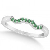 Pave Set Green Emerald Contour Wedding Band in Platinum (0.12ct)