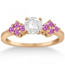 Designer Pink Sapphire Floral Engagement Ring 18k Rose Gold (0.35ct)