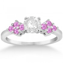 Designer Pink Sapphire Floral Engagement Ring in Palladium (0.35ct)