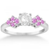 Designer Pink Sapphire Floral Engagement Ring in Platinum (0.35ct)