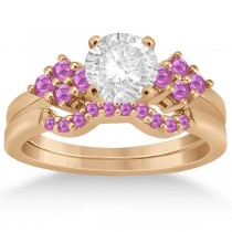 Pink Sapphire Engagement Ring & Wedding Band 18k Rose Gold (0.50ct)