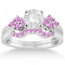Pink Sapphire Engagement Ring & Wedding Band 18k White Gold (0.50ct)