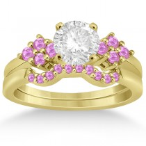 Pink Sapphire Engagement Ring & Wedding Band 18k Yellow Gold (0.50ct)