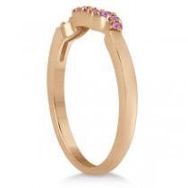 Pave Set Pink Sapphire Contour Wedding Band 14k Rose Gold (0.15ct)