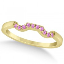 Pave Set Pink Sapphire Contour Wedding Band 14k Yellow Gold (0.15ct)