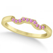 Pave Set Pink Sapphire Contour Wedding Band 18k Yellow Gold (0.15ct)