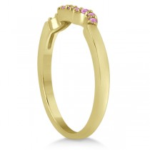 Pave Set Pink Sapphire Contour Wedding Band 18k Yellow Gold (0.15ct)