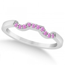 Pave Set Pink Sapphire Contour Wedding Band in Palladium (0.15ct)